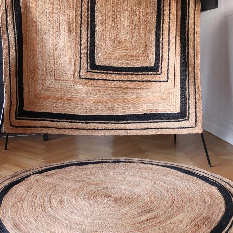 Fenny - matta i jute med svart kant 180x240