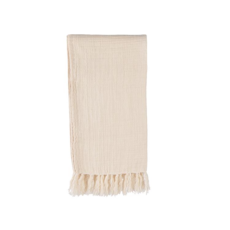 Filt/Pläd Eila beige med dekorativa fransar 100% bomull