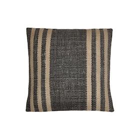 Kuddfodral Aara i svart och natur mönstrat jute tyg