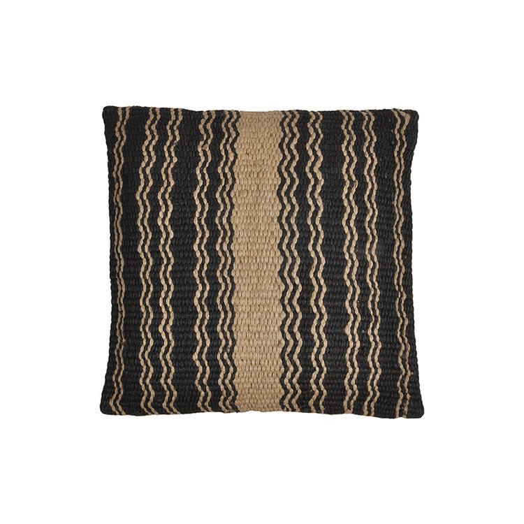 Kuddfodral Aahana i svart och naturfärgat jute tyg