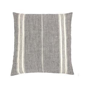 Kuddfodral Liv i grå randig linnetyg och dold dragkedja