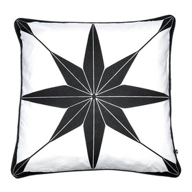 Kuddfodral Star med svart tryck och passpoalkant 100% bomull