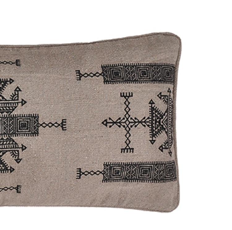 Kudde Khadi med fyllning broderad 100% bomull