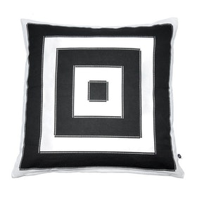 Kuddfodral Kvadrat i 100% bomull med grafiskt tryck i svart