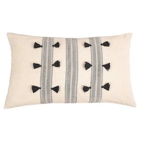 Kuddfodral Rylan med vävda band och dekorativa tofsar 100% bomull