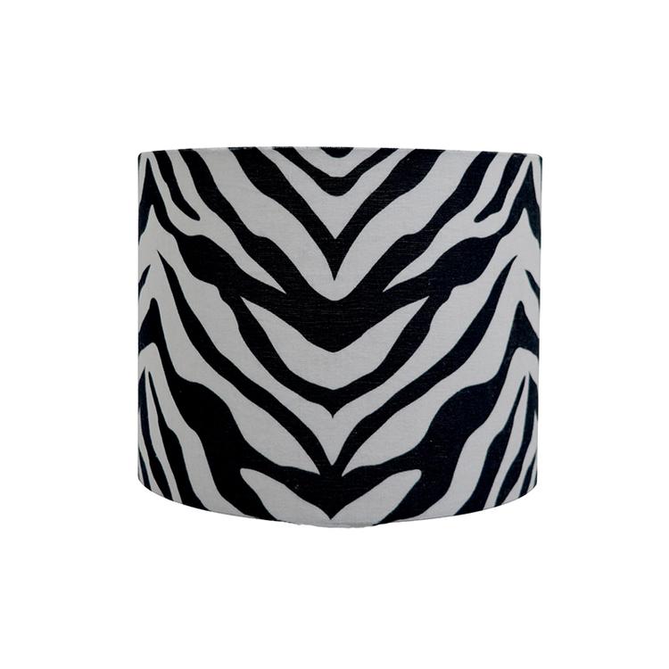 Lampskärm Zoey i bomull linne blandning, zebra