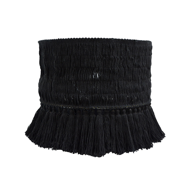 Lampskärm Coco i bomull med tofsar, svart