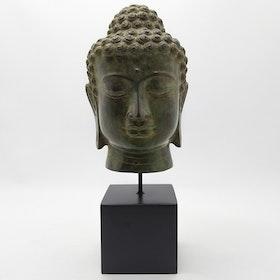 Mässings figur Buddha på stativ, antik grön