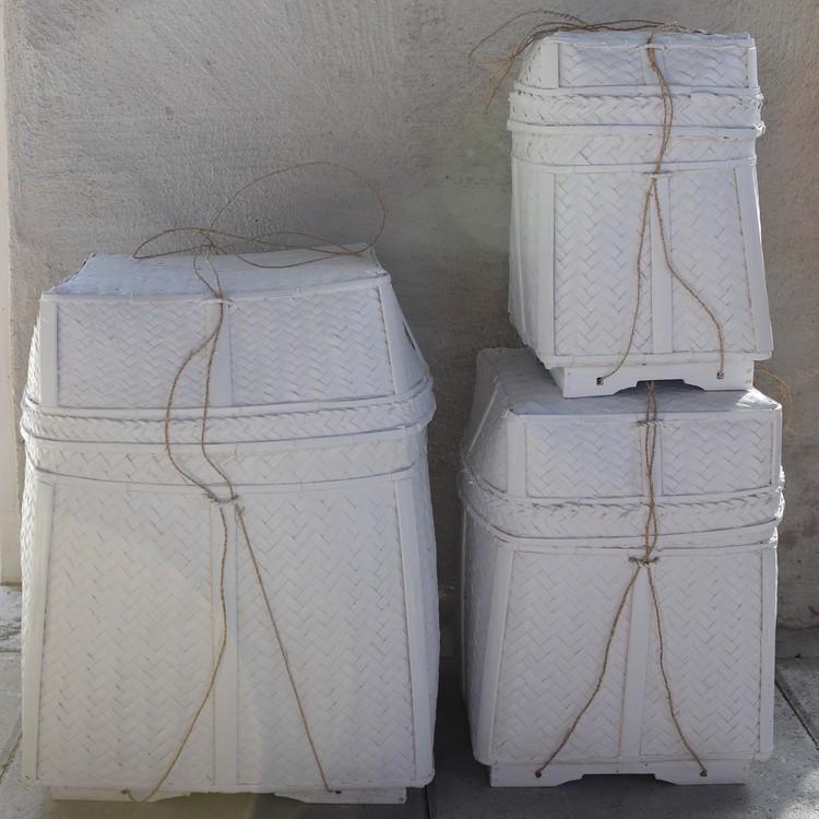 Förvaringskorg Katung L i vit rotting med lock