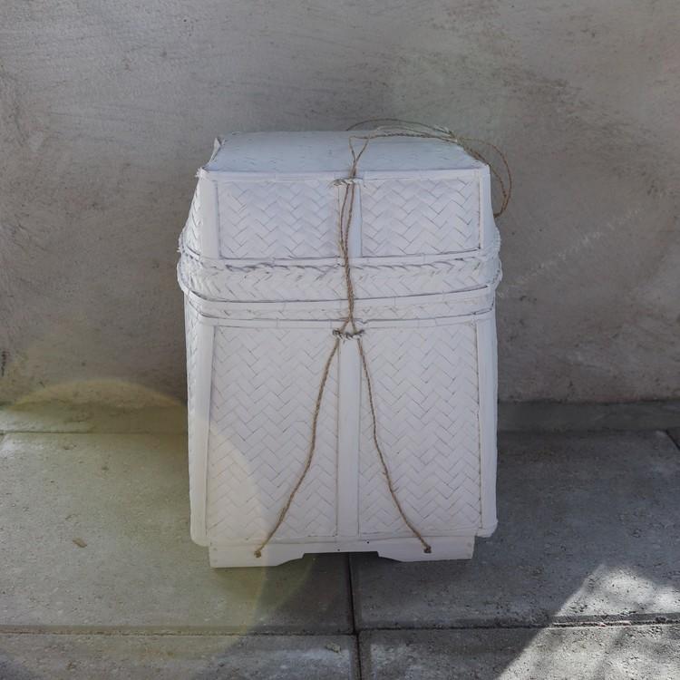 Förvaringskorg Katung M i vit rotting med lock
