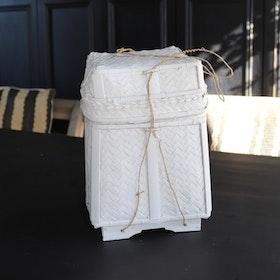 Förvaringskorg Katung S i vit rotting med lock
