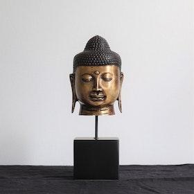 Mässings figur Buddha på stativ, guld
