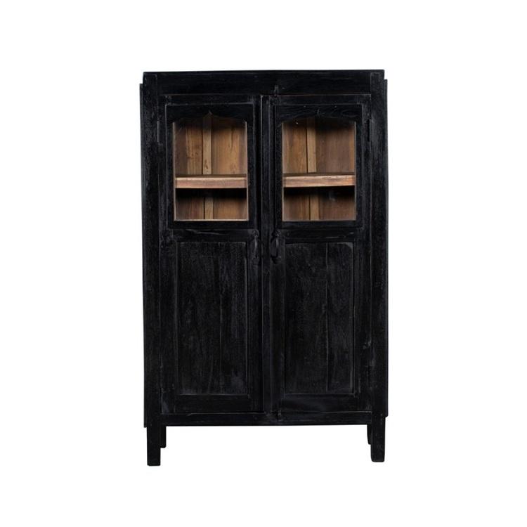 Litet svart vitrinskåp med glasdörrar, vintage