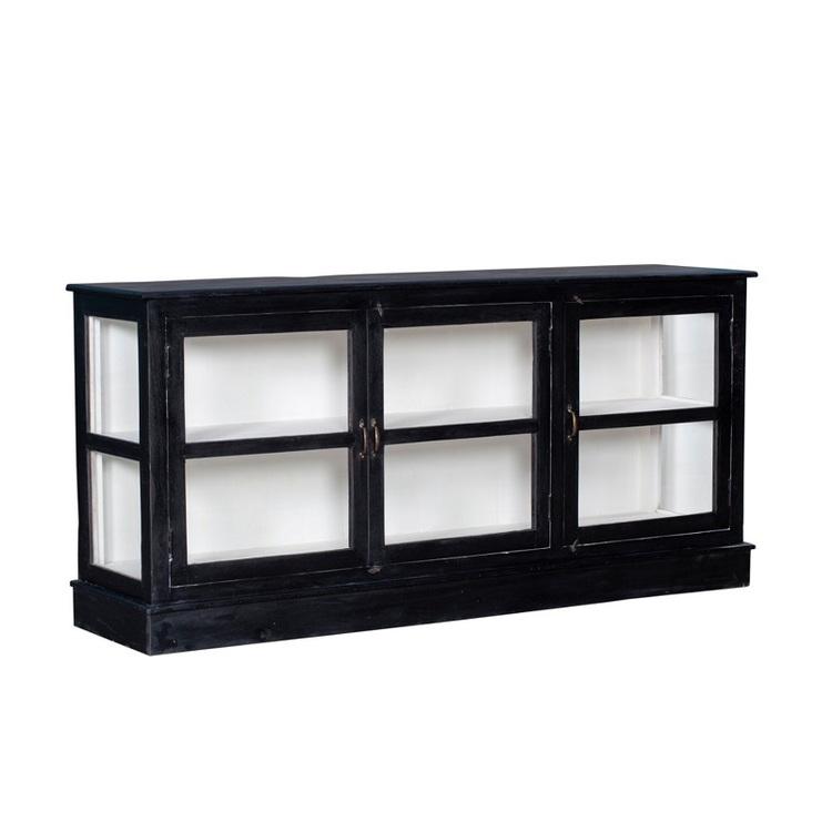 Sideboard Susanna med glasdörrar, svart