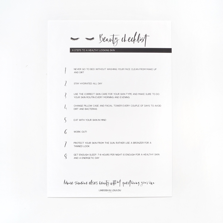 """Beauty Checklist"" Informationskort"