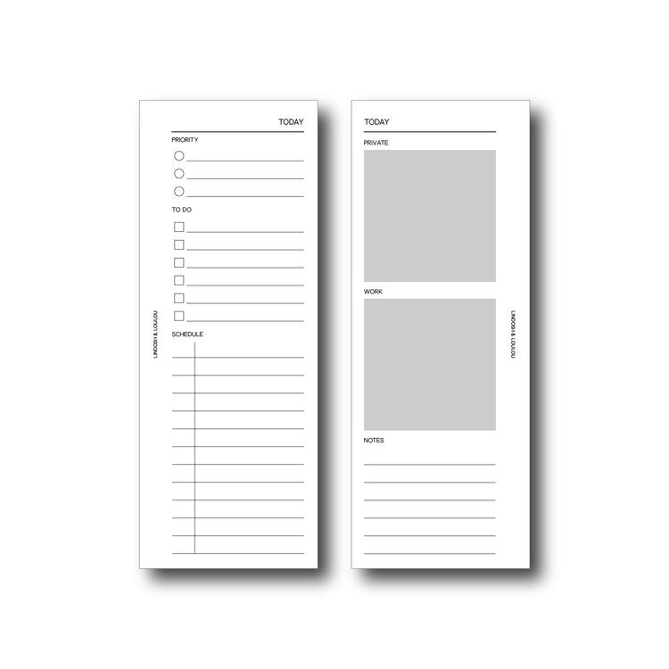 """""""Daily planner"""" inlagor till agenda, halv sida A5"""
