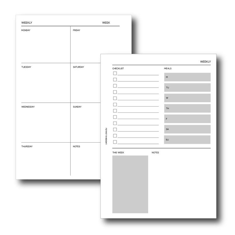 """Weekly planner"" inlagor till agenda A5"