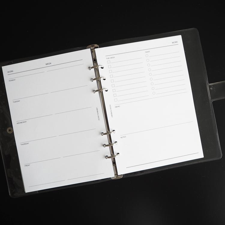 """""""Work week planner"""" inlagor till agenda, A5"""