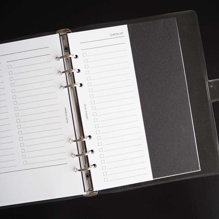 """Checklist"" inlagor till agenda, halv sida A5"