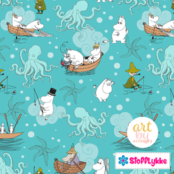 Sea Life Aqua Woven Cotton