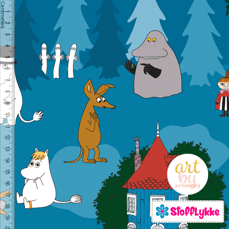 Night int the Moomin Valley Blue Jersey