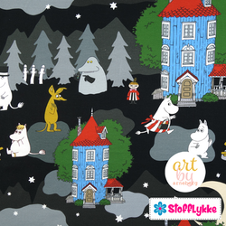 Night in the Moomin Valley Black French Terry