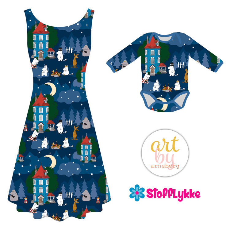 Night in the Moomin Valley Dark Blue French Terry