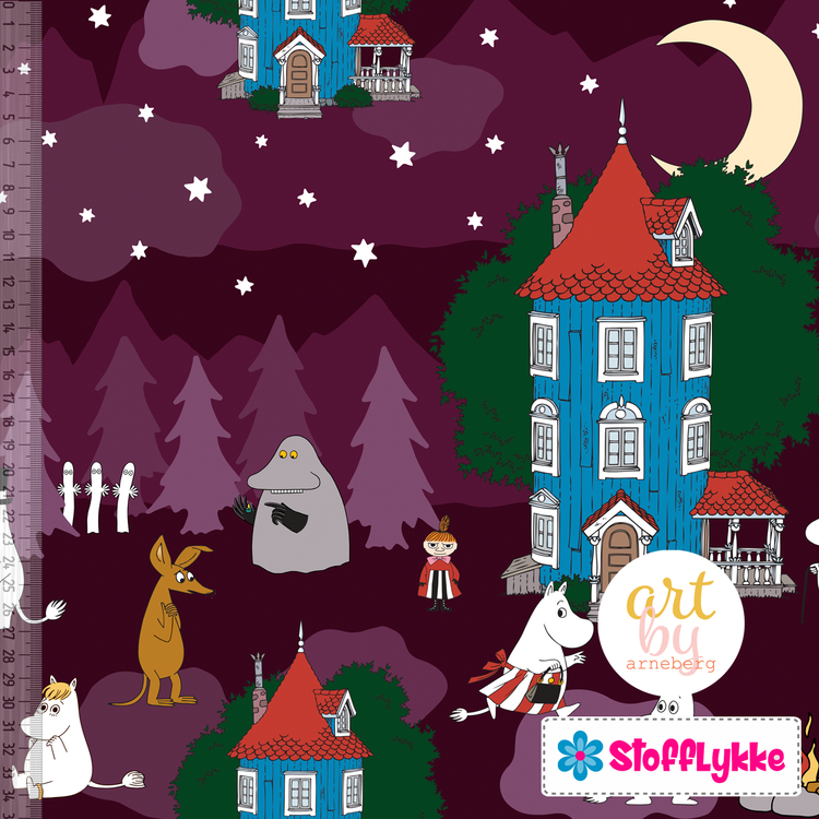 Night in the Moomin Valley Plum French Terry