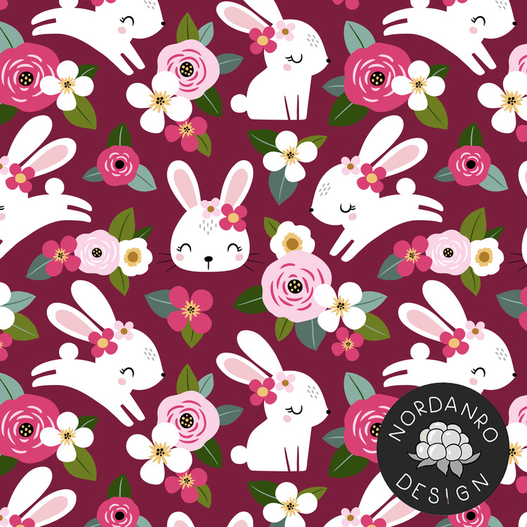 Floral Bunny Wine Jersey