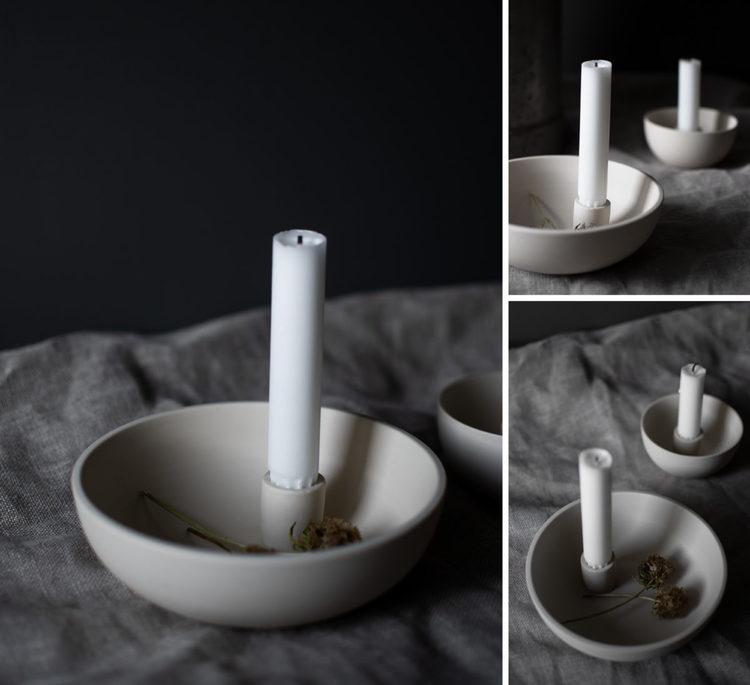Lidatorp beige ljusstake/skål - liten