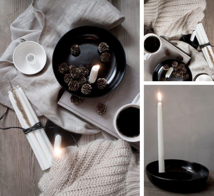 Lidatorp svart ljusstake/skål - stor