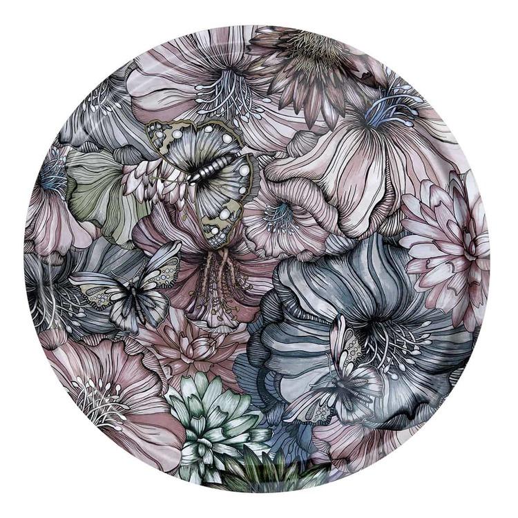 Bricka - Flower Power, blekrosa