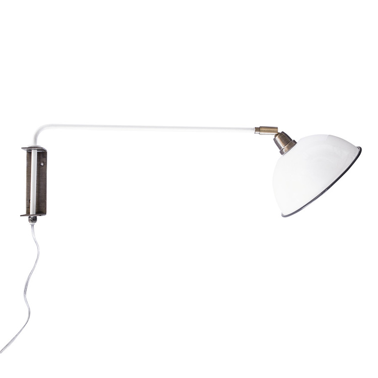 Vägglampa Arm Vit/Mässing