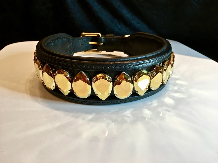 Liz Big Dog Collar, Metallic Sunshine
