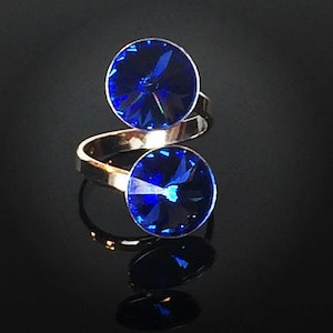 Double sapphire silver ring