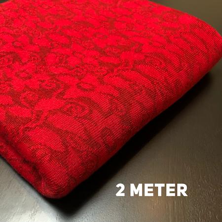 Ullstuv - 140 cm bredd, röd / mörk röd