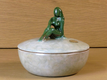 bowl with green lady on lid