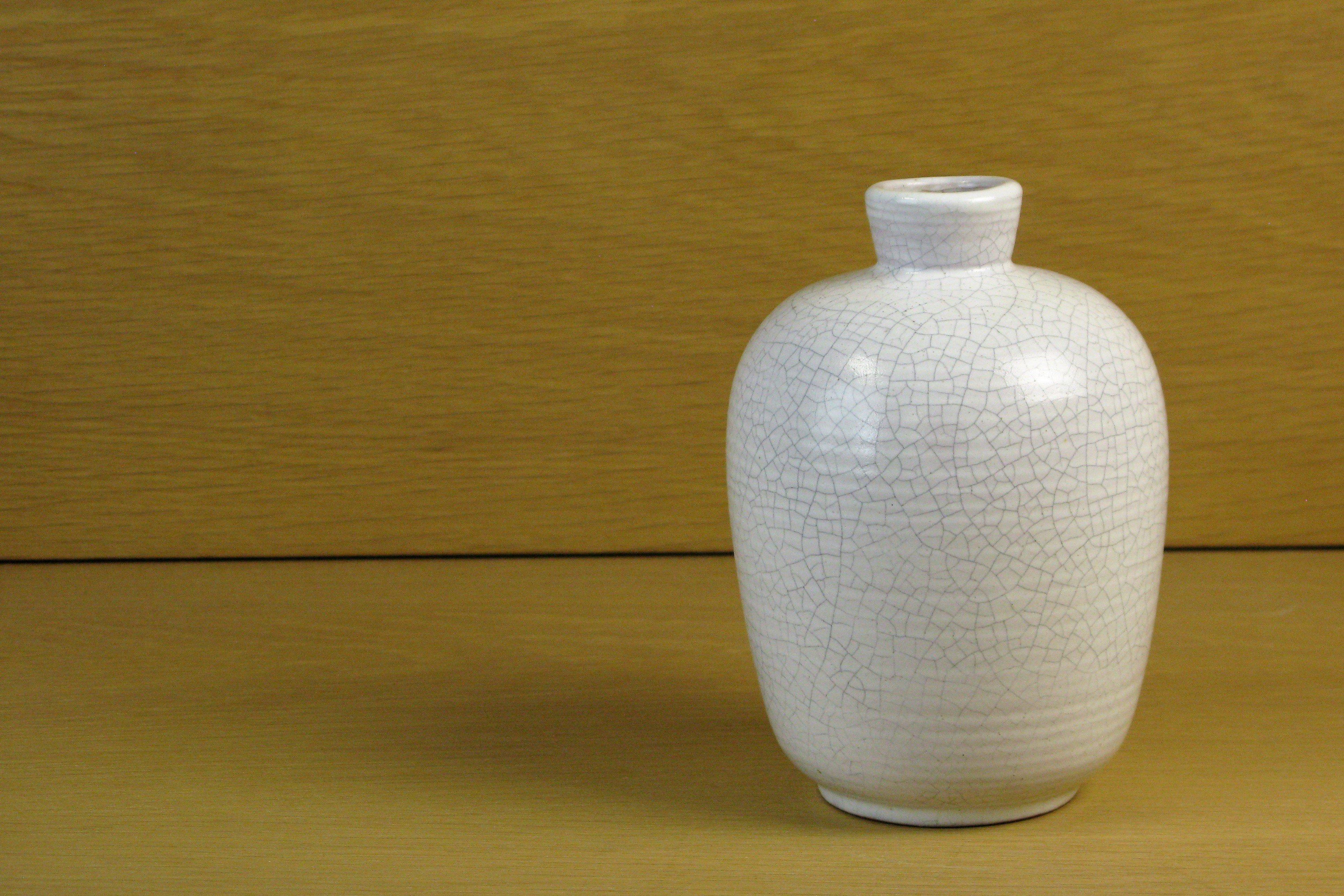 white krakelyr vase
