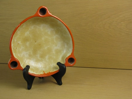yellowish/orange candle bowl 2506