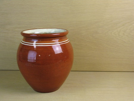 brown 3 l pot w stripes