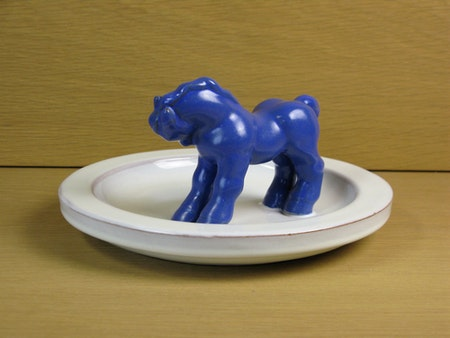 blue horse in white bowl 46