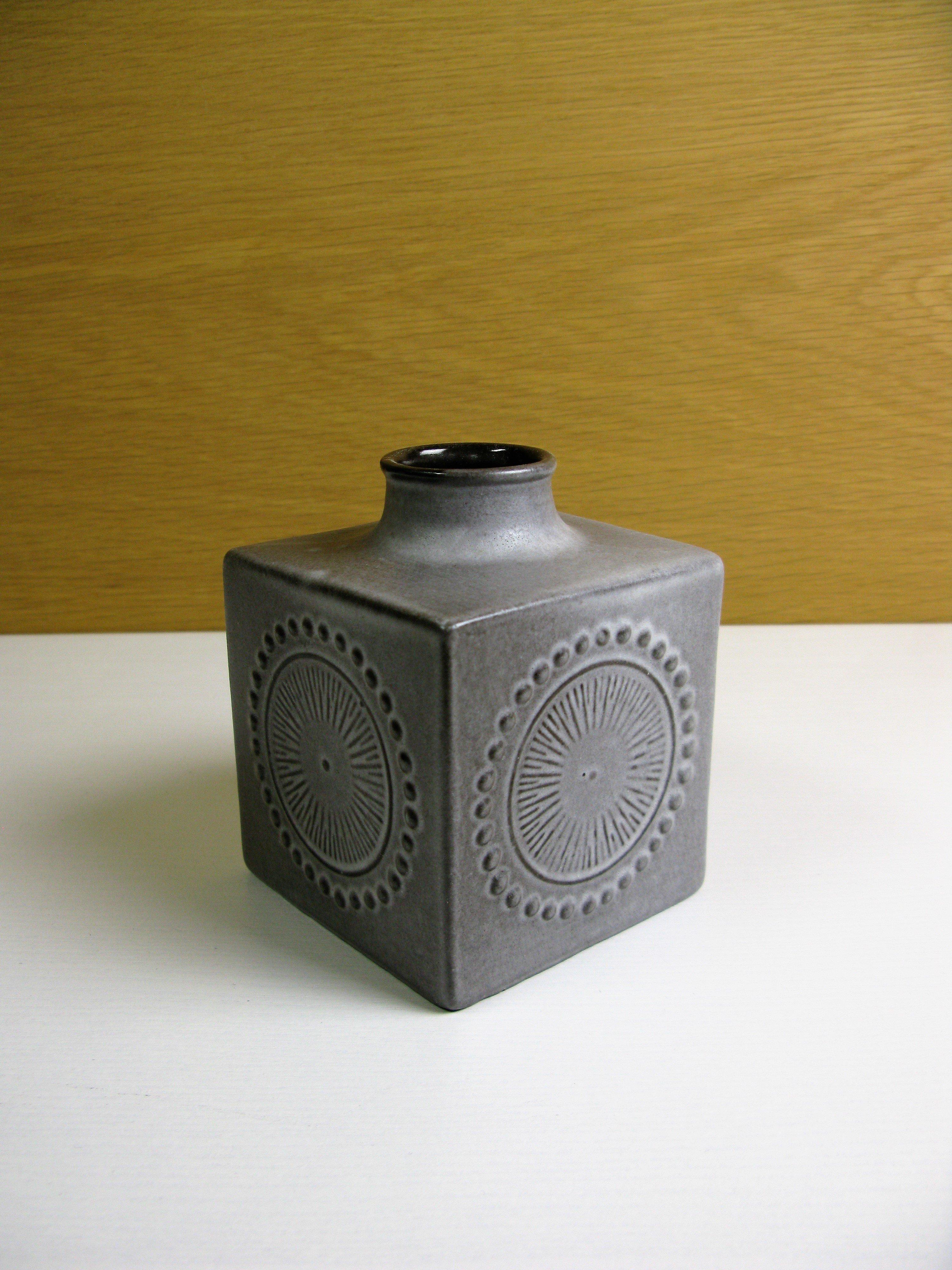 grey square vase 43130/906