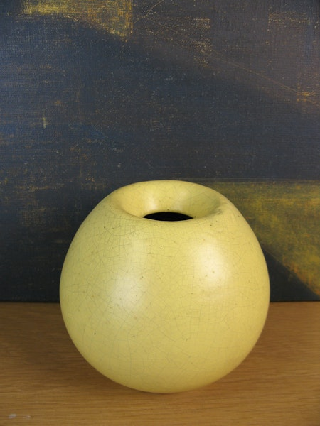 yellow craquelure vase 5079
