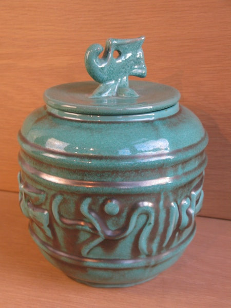 green urn with lid 2617