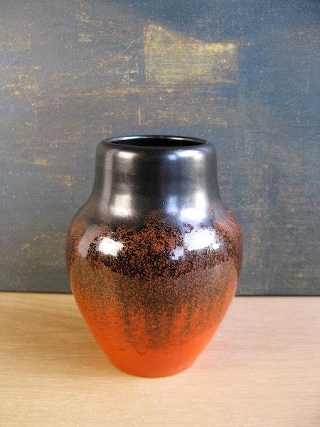 orange/black vase 1516