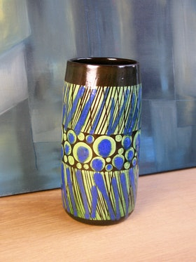 blue/green stripa vase 9042