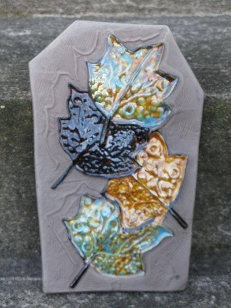 autumn leaves wall plate 0137e