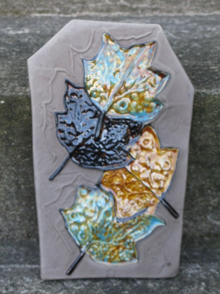 autumn leaves wall plate 0137e