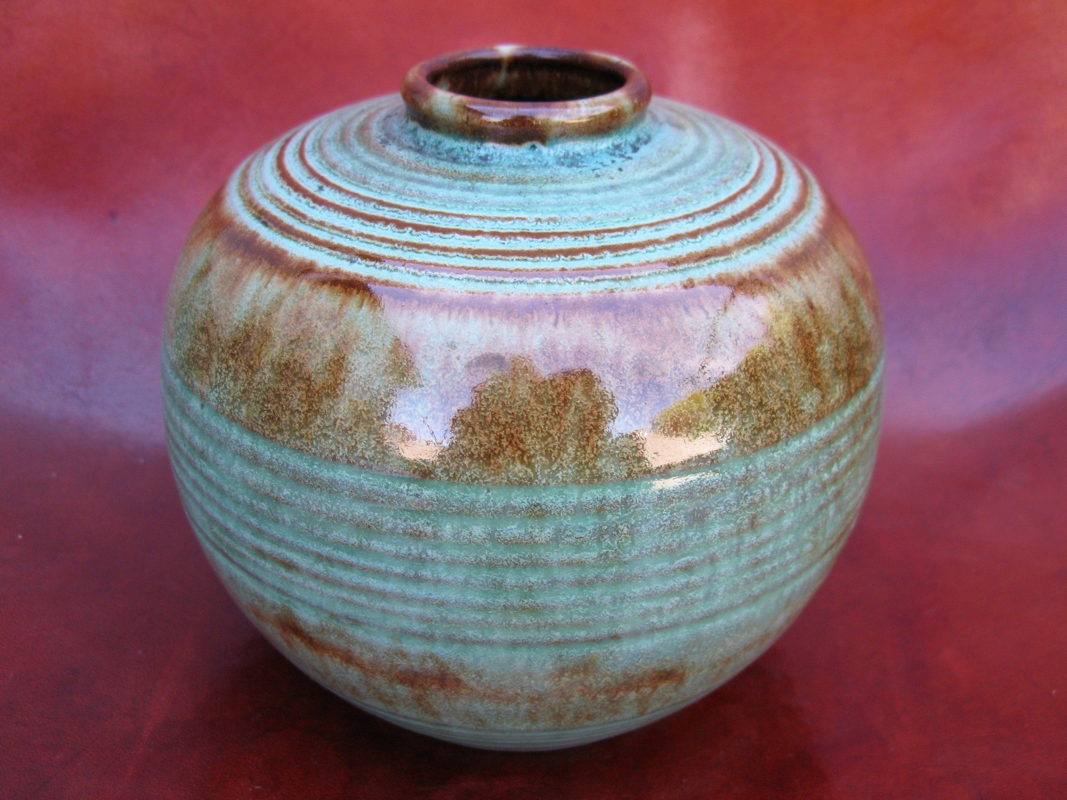 greenish globe vase 3156