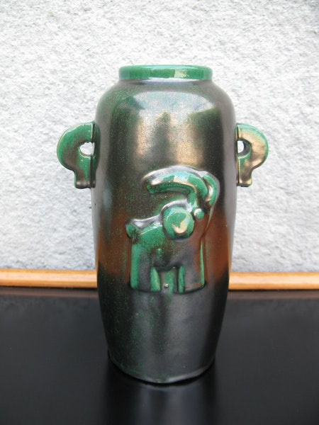 green ml art deco vase